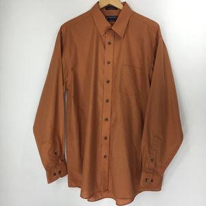 Stafford 17.5 36-37 Shirt Button Down Front Orange